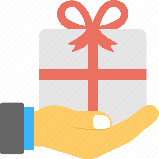 gift box, gift box in hand, gift giving, man holding gift, wrapped gift icon