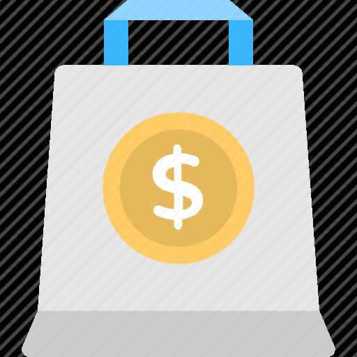 dollar sign bag, reusable bag, shopper bag, shopping bag, tote bag icon