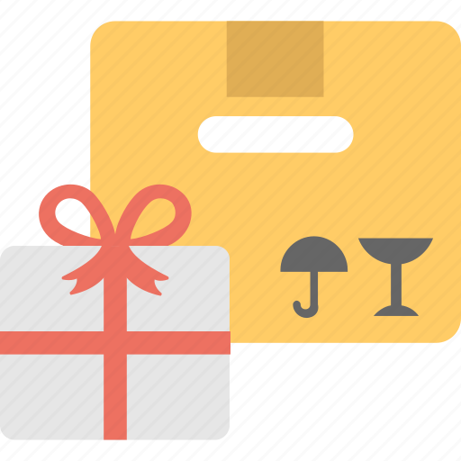 concept of delivery, gift box with delivery package, gift delivery, shipping gift icon