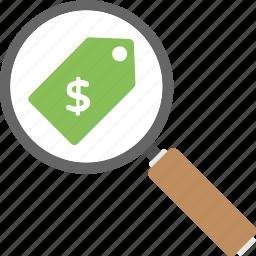 cost comparison, find premium, market price and cost, price search, sale tag magnifier icon