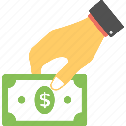cash payment, hand holding cash, payment, reimbursement, salary icon