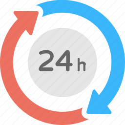 24 hours service, customer service, customer support, extended support, turnaround time icon