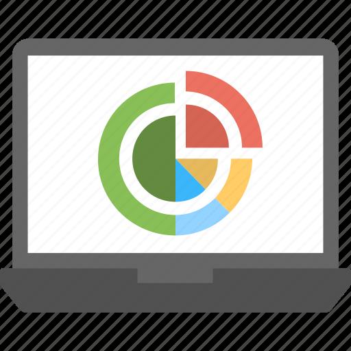 online statistics, pie chart, pie chart on laptop display, profitability, statistics icon