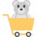 kids shopping, cart teddy bear, shopping joy, sale of toys, children fantasies