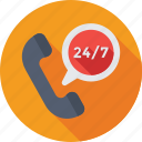 24/7, customer service, helpline, receiver, support icon