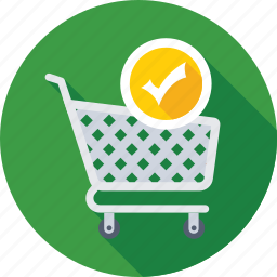 added to cart, cart, product, tick, trolley icon