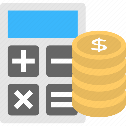 calculating, calculator with money, counting money, financial accounting, financing icon
