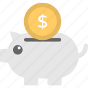 financial security, personal savings, piggy bank, piggy with coin, saving money icon
