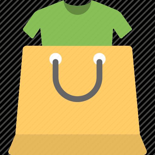 clothes shopping, clothing store, garments shop, shirt inside shopper, shopping icon