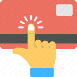 banking, credit card payment, finance, finger touch on credit card, payment concept icon
