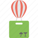 delivery with balloon, fast delivery, free delivery concept, hot air balloon, hot air balloon cargo icon