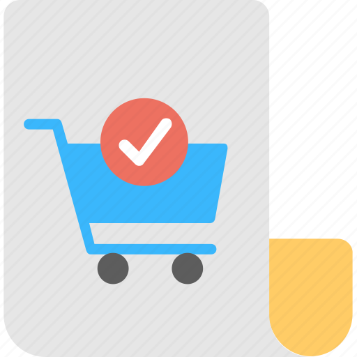 approved basket, checkout, online shopping element, shopping cart check mark, web shopping element icon