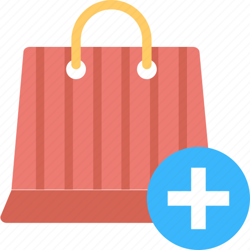 add product, add shopping items, online shopping, paper bag, shopping bag icon