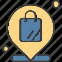 bag, location, map, pin