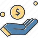 dollar, hand, money, saving