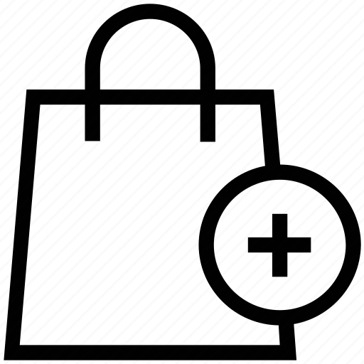 add items, add shopping, e commerce, go shopping, plus, shopping bag icon