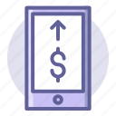 buy, commerce, currency, e, phone, shopping, transfer icon