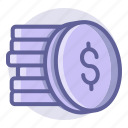 coin, commerce, currency, e, finance, money, shopping icon
