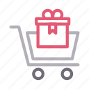 cart, gift, shopping, surprise, trolley