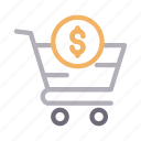 buying, cart, dollar, shopping, trolley icon