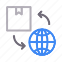 box, global, transfer, world, delivery icon