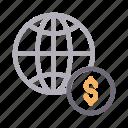 browser, dollar, earth, global, world icon