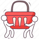 buying, grocery basket, grocery bucket, purchasing, shopping icon