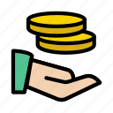 care, coins, hand, money, protection