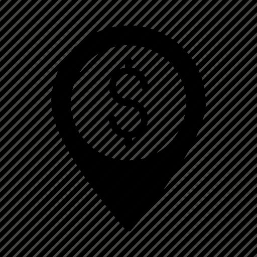 dollar, gps, location, map, pin icon