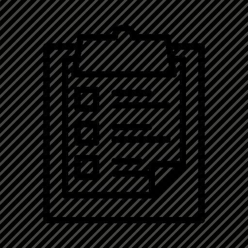 checklist, clipboard, document, form, survey icon