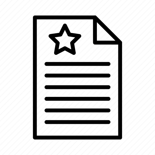 archive, document, file, sheet, star icon