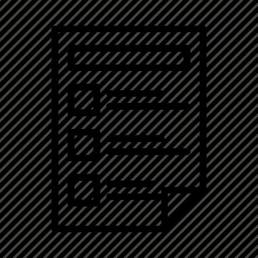 checklist, document, file, form, survey icon