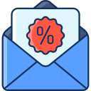 discount, sale, lineal, voucher, email icon