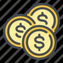 coin, dollar, money, finance
