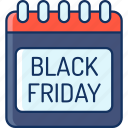 black friday, calendar, color, lineal, marketplace, onlineshop, sale icon