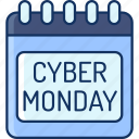 holiday, color, cyber monday, sale, discount, calendar, lineal icon