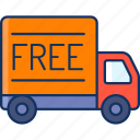 color, sale, free, delivery, truck, shipping, lineal icon