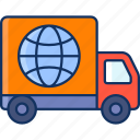 color, globe, sale, shipping, truck, international, lineal icon