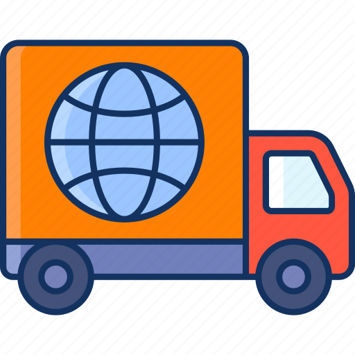 color, globe, international, lineal, sale, shipping, truck icon