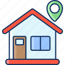 color, house, sale, shipping, location, home, lineal icon