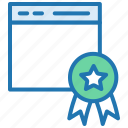 badge, browser, certificate, guarantee, license, quality icon