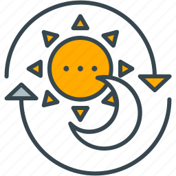 day, fulltime, moon, night, open, shopping, sun icon