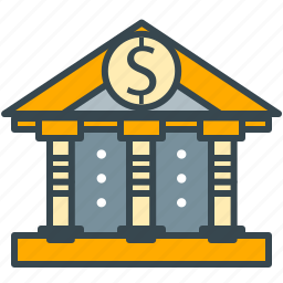 bank, building, dollar, finance, saving icon