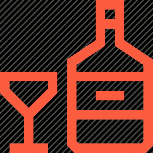 alcohol, bottle, drink, glass, liquor, spirit icon
