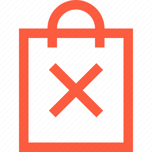 bag, ban, cancel, dismiss, plastic, purchase, shopping icon
