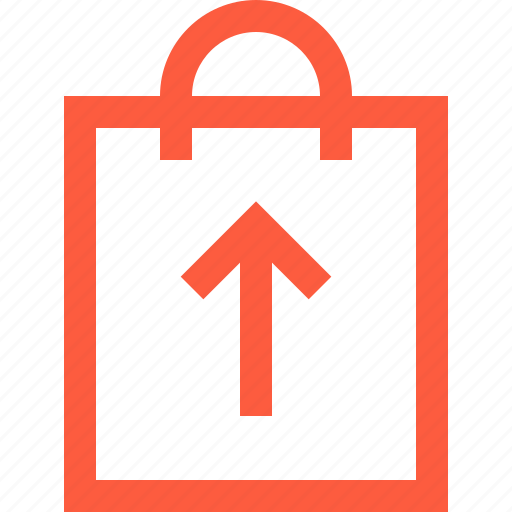 bag, goods, growth, shopping, top, up, upload icon