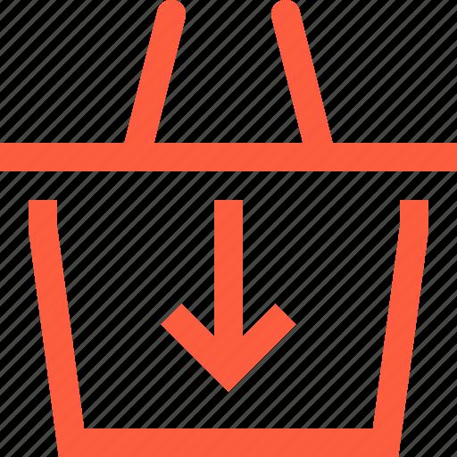 arrow, basket, down, download, save, shop, shopping icon