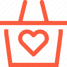 basket, favorite, goods, heart, like, product, shopping icon