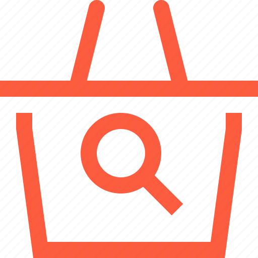 basket, find, loupe, magnifier, scan, search, shop, shopping icon