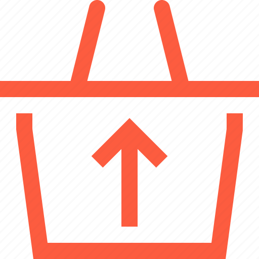 arrow, basket, growth, product, shopping, up, upload icon